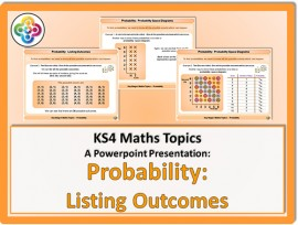 Probability - Listing Outcomes & Probability Space Diagrams for KS4