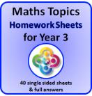 Maths Topics Homework Sheets for Year 3 PDF Booklet