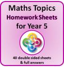 Maths Topics Homework Sheets for Year 5 PDF Booklet